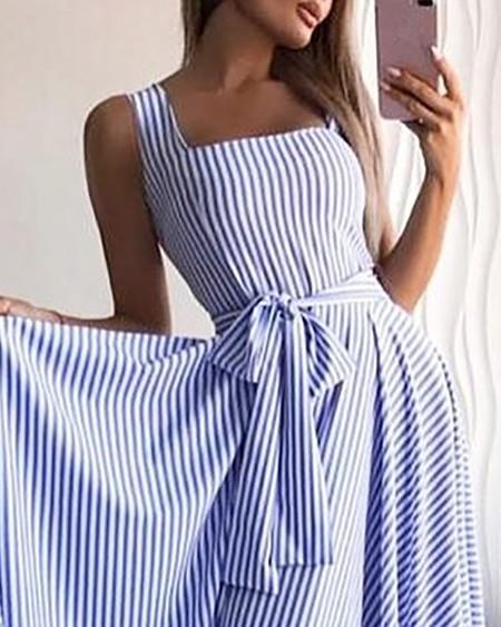 Striped Square Neck Ruffles Hem Dress