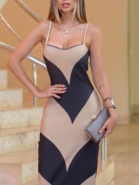 Contrast Color Spaghetti Strap Side Slit Dress
