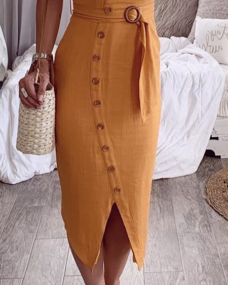 Spaghetti Strap Buttoned Slit Casual Dress
