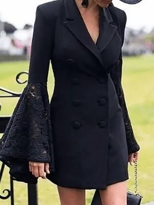 Lace Splicing Bell Sleeve Blazer Dress