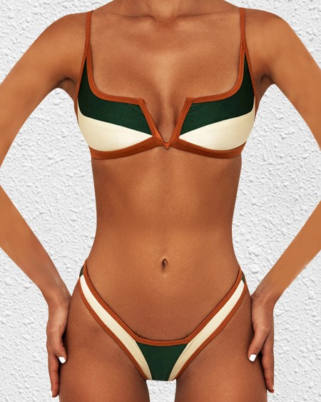 Colorblock Strap Bra With Panties Bikini Sets