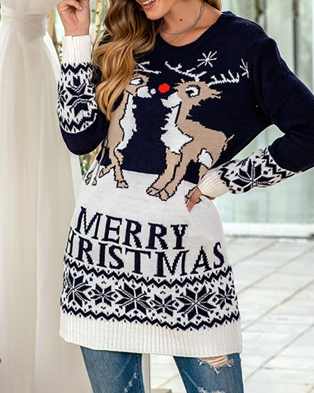 boutiquefeel / Christmas Letter Moose Print Knit Sweater Dress