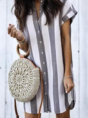 Fashion Striped Button Through Casual Blouse