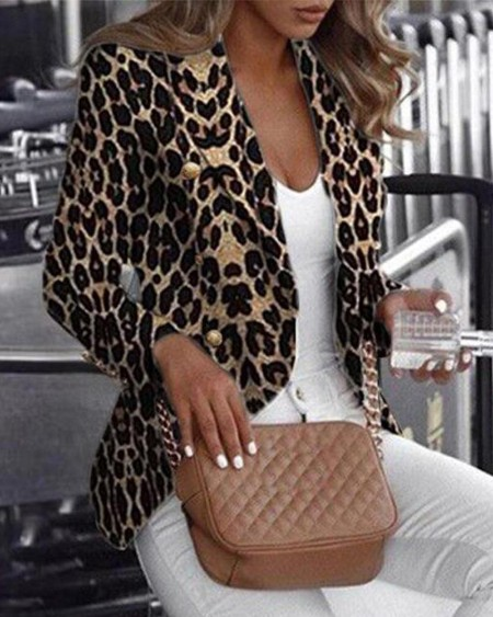 Long Sleeve Leopard Printed Blazer