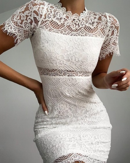 Short Sleeve Hollow Out Eyelash Lace Bodycon Dress