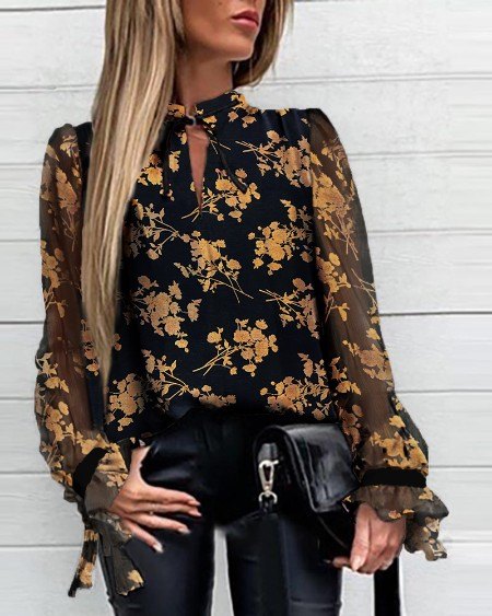 Floral Tied Neck Casual Blouse
