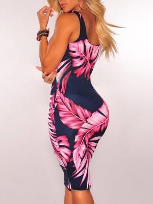 Tropical Print Cutout Drawstring Front Bodycon Dress