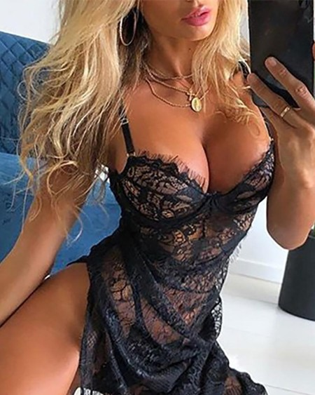 Eyelash Lace Sheer Mesh High Slit Babydoll