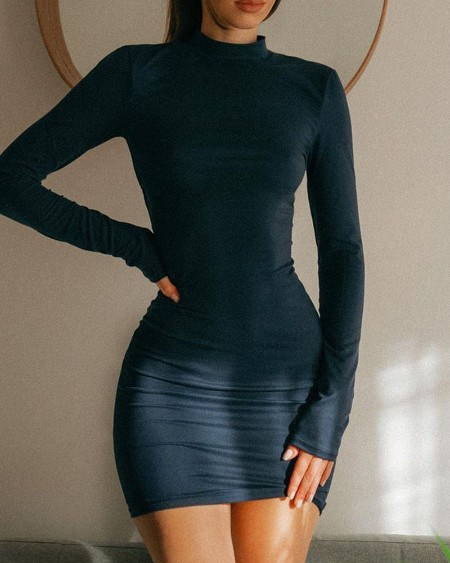 Plain Lace-up Backless Long Sleeve Bodycon Dress
