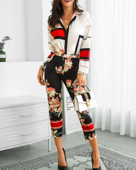 6cc2912821 Floral Print Turn-Down Neck Long Sleeve Jumpsuit ...