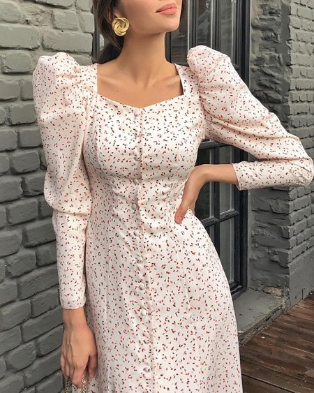Puff Sleeve Square Neck Casual Dress