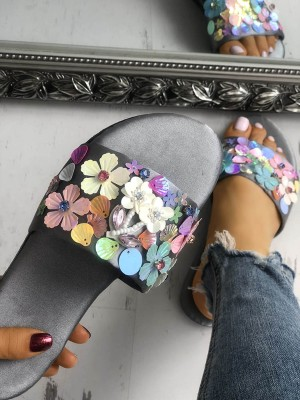 Shiny Flowers Embellished Single Strap Slippers