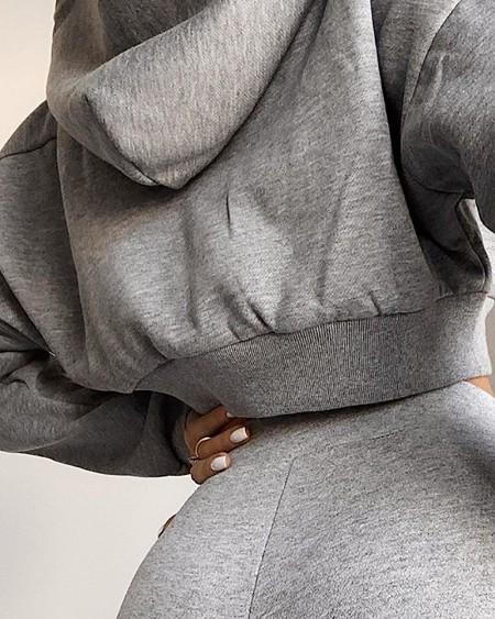 Solid Hooded Drawstring Top & Pants Set