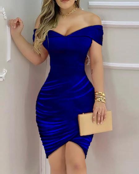 Plain One Shoulder Ruched Dress