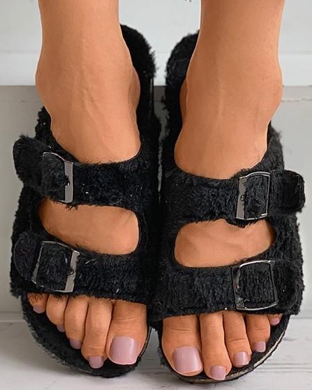 Plain / Cheetah Print Buckle Fluffy Flat Sandals