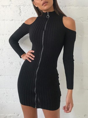 Cold Shoulder Zipper Up Ribbed Mini Dress