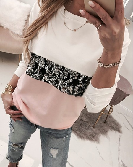 boutiquefeel / Round Neck Colorblock Insert Sequins Long Sleeve Sweatshirt