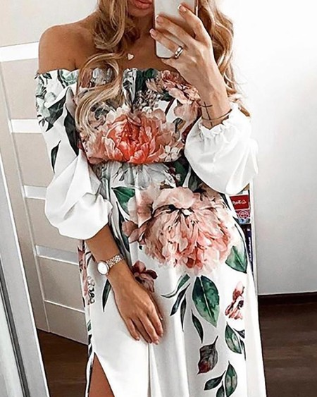 Floral Print Off Shoulder High Slit Maxi Dress