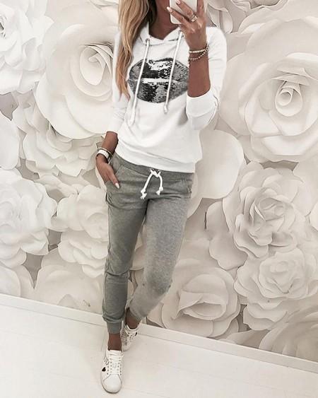 boutiquefeel / Sequins Hooded Top & Drawstring Design Pant Sets