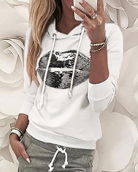 Sequins Hooded Top & Drawstring Design Pant Sets