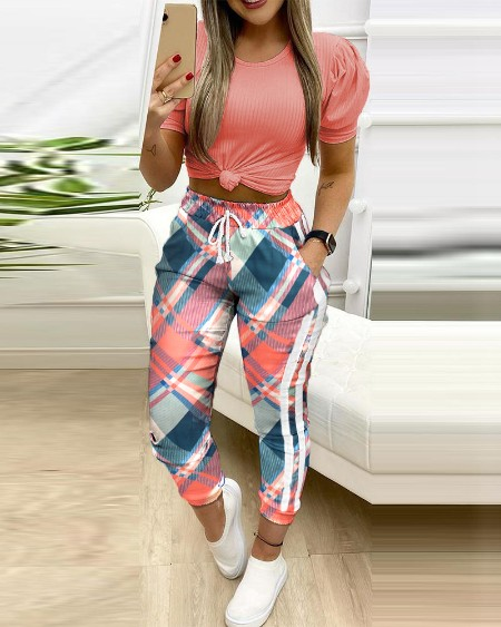 boutiquefeel / Plaid Colorblock Drawstring Pockets Sweatspants