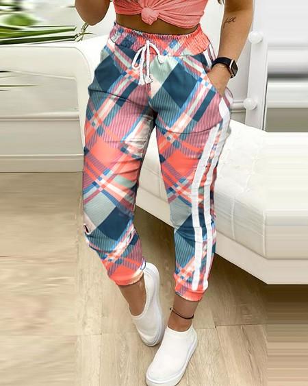 Plaid Colorblock Drawstring Pockets Sweatspants