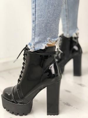 Lace-Up Zipper Platform Chunky Heeled Boots