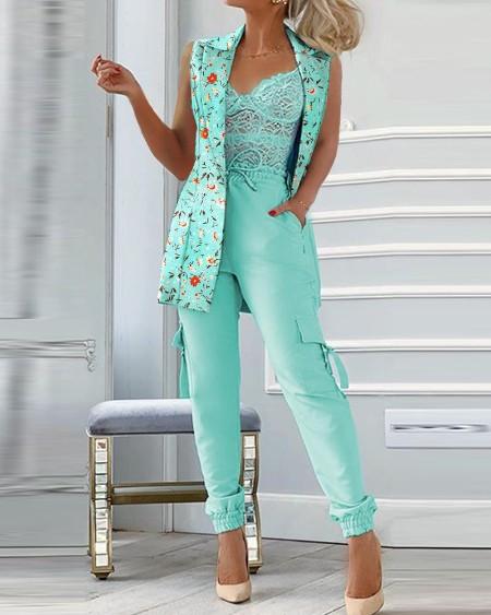 Floral Print Sleeveless Blazer Coat & Drawstring Pants Set