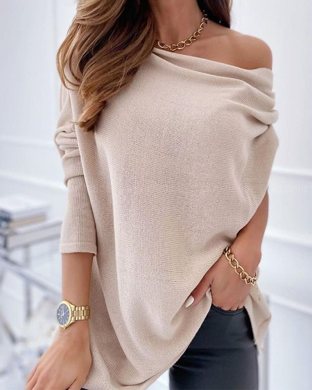 Solid Long Sleeve Loose One Shoulder Blosue