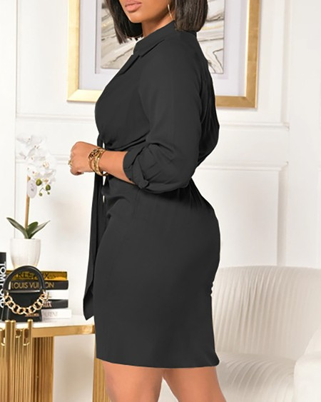 Plain Tie Front Ruched Long Sleeve Dress