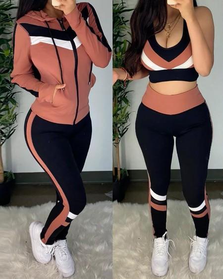 Colorblock Crop Top & High Waist Pants & Hooded Coat Set