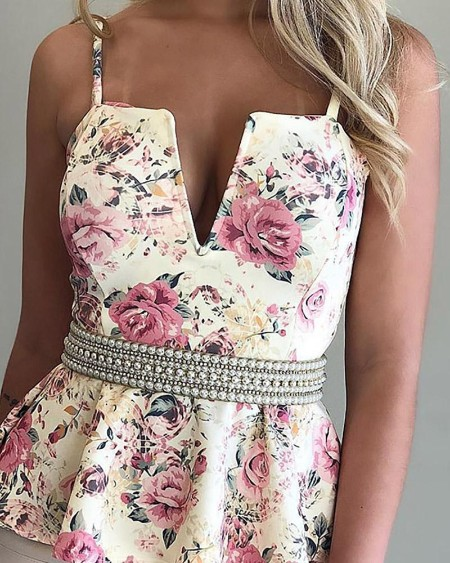Floral Print Plunge Ruffles Top