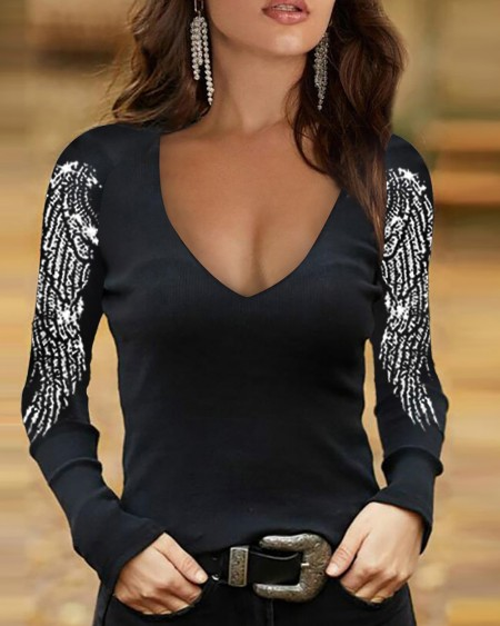 Splicing Feather Print Long Sleeve Skinny Blouse