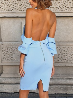 Solid Crisscross Halter Open Back Bodfycon Dress