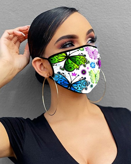 Butterfly / Floral Print Breathable Mouth Mask Washable And Reusable