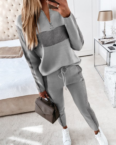 Colorblock Zipper Design Long Sleeve Top & Drawstring Waist Pants Set