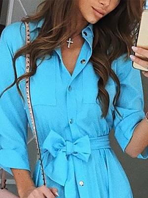 Solid Button Through Tie Waist Shirt Dress
