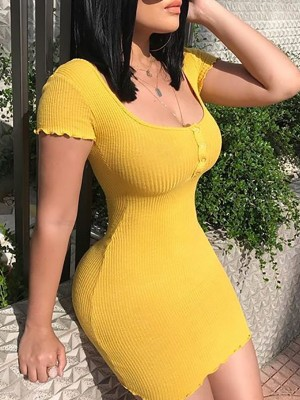 Button Front Short Sleeve Bodycon Dress