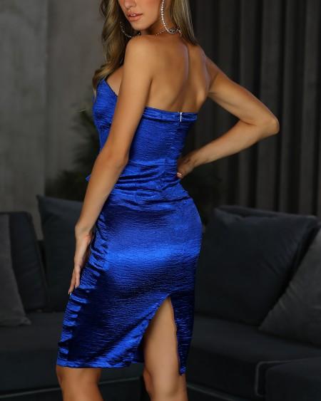 Bandeau Ruched Design Bodycon Dress