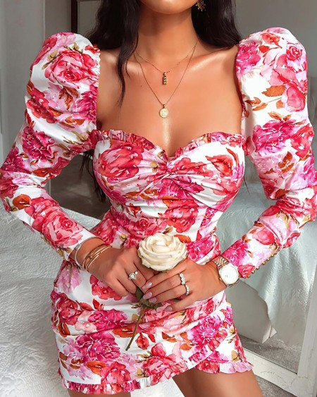 Floral Print Puffed Sleeve Ruched Dress