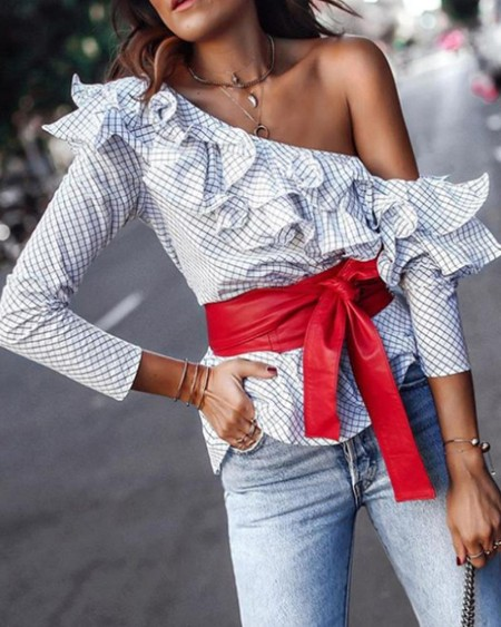Ruffled One Shoulder Grid Long Sleeve Blouse