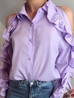 Ruffles Cold Shoulder Button Up Blouse