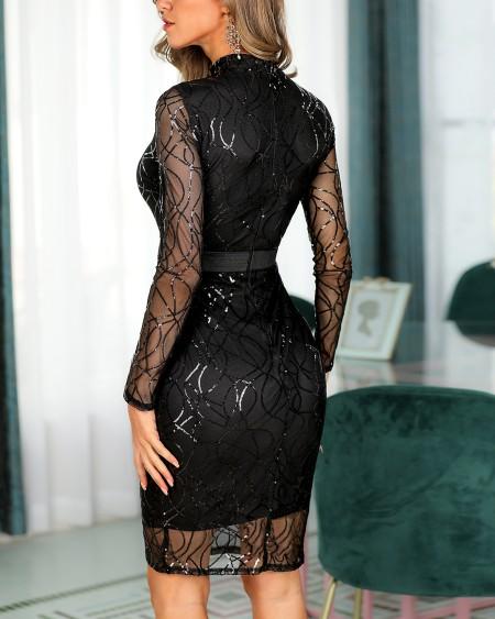 Long Sleeve Sequin Midi Dress