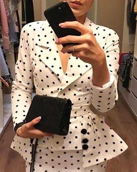 Dot Irregular Hem Blazer Top & Slit Skirt Sets
