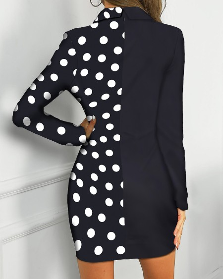 Dot Print Colorblock Insert Blazer Dress