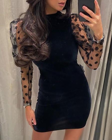 Dot sheer Mesh Puffed Sleeve Backless Bodycon Dress