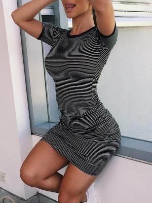 Fashion Stripe Print Casual T-shirt Dress