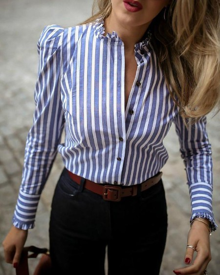 boutiquefeel / Striped Puffed Sleeve Frill Hem Casual Blouse
