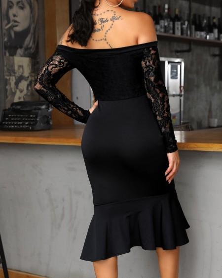 Off Shoulder Lace Insert Ruffles Bodycon Dress