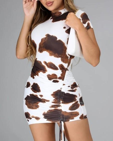 Cow Print Drawstring Ruched Bodycon Dress
